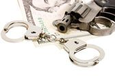 Pistol handcuffs money — Stock Photo
