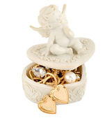 Angel gold jewelry box — Stock Photo