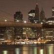 Downtown Manhattan at night - Stock Photo