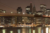 Downtown Manhattan at night — Stock Photo