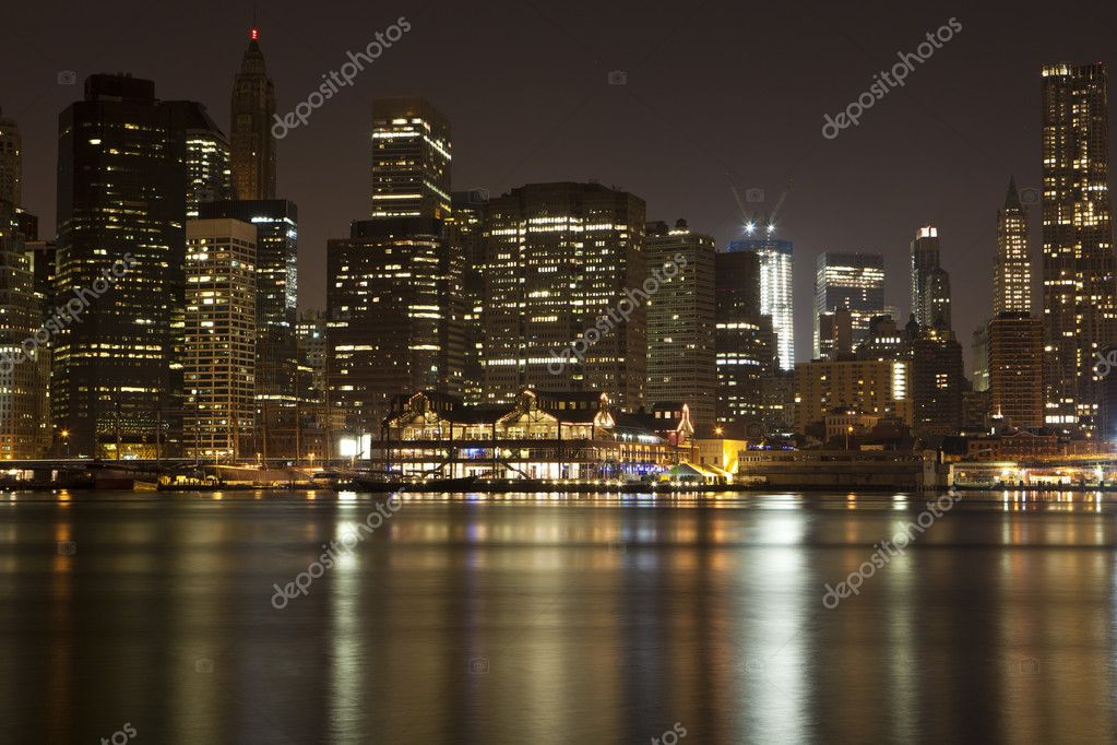 Manhattan skyline at Night Lights — Stock Photo #8952651