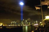 911 WTC Memorial Light Tribute at Manhattan downtown — Stock Photo