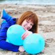 Happy girl with balloons — Stock Photo #9062276