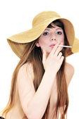 Smoking woman — Stock Photo
