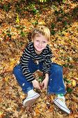 Happy autumn boy — Stock Photo