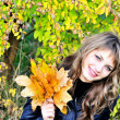 Sweet girl in fall forest — Stock Photo #9081312