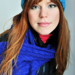 Redheaded winter girl — Stock Photo