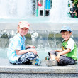 Boys  near waterworks — Stock Photo