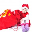 Santa helper with bag of gifts — Stock Photo #9158177