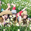 Girls on meadow — Stock Photo