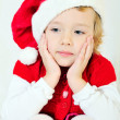 Thoughtful santa helper — Stock Photo