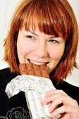 Enjoying of chocolate — Stock Photo