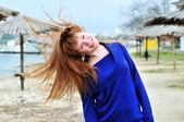 Redheaded happy girl — Стоковое фото