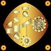 Ornements décoratifs d'or sur fond noir — Vecteur