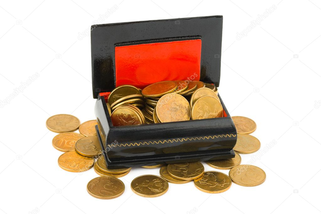 Gold coins in box isolated on white background — Stock Photo #10213247