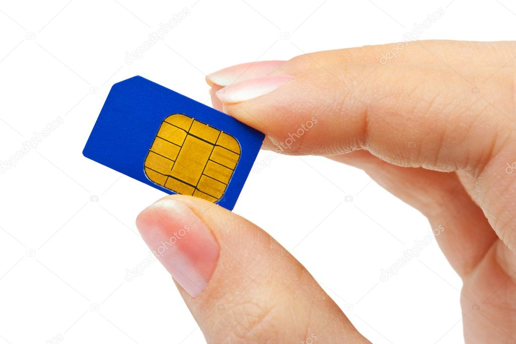 Hand and phone sim card isolated on white background — Stock Photo #10379018