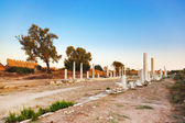 Old ruins in Side, Turkey at sunset — Stock Photo