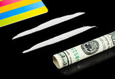 Cocaine, money and plastic card — Stock Photo
