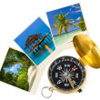Beach maldives images and compass — Stock Photo
