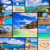Collage de imágenes de playa verano — Foto de Stock