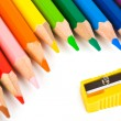 Multicolored pencils and sharpener — Stock Photo #8062815