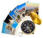 Greece photography and compass — Stock Photo