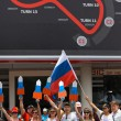 SEPANG, MALAYSIA - APRIL 10: Russian fans at Formula 1 GP, April — Stock Photo