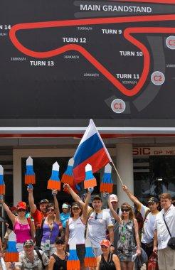 SEPANG, MALAYSIA - APRIL 10: Russian fans at Formula 1 GP, April