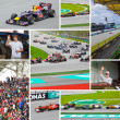 SEPANG, MALAYSIA - APRIL 10: Collage of photos at race of Formul - Stock Photo