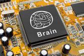 Brain symbol on computer chip — Stock Photo