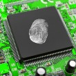 Fingerprint on computer chip — Stock Photo