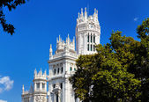 The palace in plaza Cibeles at Madrid, Spain — Stock Photo