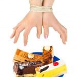 tortas y manos enlazadas — Foto de Stock