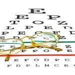 Glasses on eyesight test chart — Stock Photo