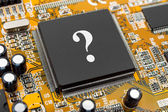 Question on computer chip — Stock Photo