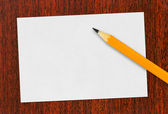 Paper card and pencil — Stock Photo