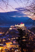 Salzburg and castle Hohensalzburg at sunset - Austria — Stock Photo