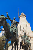 Don Quixote and Sancho Panza statue - Madrid Spain — Stock Photo