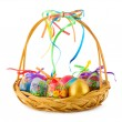 Easter eggs in basket — Stock Photo #9819659
