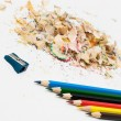 Stock Photo: Sharpened pencil and wood shavings