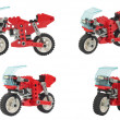 Lego toy motorcycle collages — Stock Photo