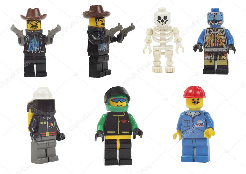 Miniature models of professions toy lego isolated on white background  Foto Stock #10386420