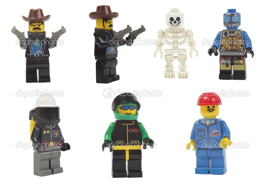 Miniature models of professions toy lego isolated on white background — Stockfoto #10386420