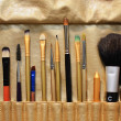 Stock Photo: Set of professional cosmetic brushes, make up brushes