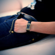Girl waiting with watch — Stock Photo