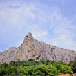 Rock in Crimea with blue sky and greens — Stock Photo