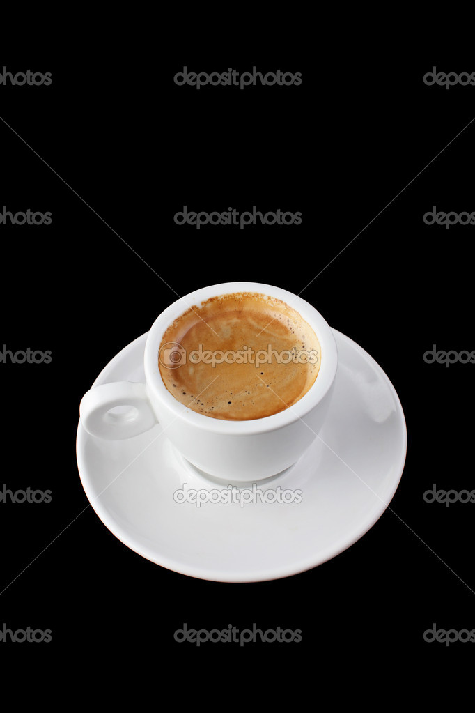 White cup coffee espresso isolated on black background — Stock Photo #8983436