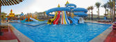 Panorama aquapark sliders, aqua park, water park — Stock Photo
