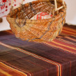Slavic old wicker basket for baby - Stock Photo