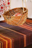 Slavic old wicker basket for baby — Stockfoto